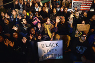 Washington, DC - November 25, 2014: Thousands of protesters march through the streets of the District of Columbia, November 25, 2014, in support of police reform and in solidarity with protesters in Ferguson, MO. At the end of the march, they rallied on the steps of the National Gallery of Art.  (Photo by Don Baxter/Media Images International)