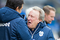 Cardiff City manager Neil Warnock greets Sunderland manager Chris Coleman ahead of the Sky Bet Championship match between Cardiff City and Sunderland at the Cardiff City Stadium, Cardiff, Wales on 13 January 2018. Photo by Mark  Hawkins / PRiME Media Images.