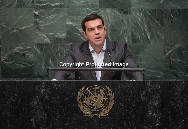 Alexis Tsipras Prime Minister of Greece  <br /> General Assembly Seventieth session 9th plenary meeting: High-level plenary meeting of the (6th meeting)