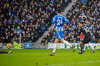 Eden Hazard of Chelsea (10) Scores his teams third goal of the game with a stike 10 yards out  during the Premier League match between Brighton and Hove Albion and Chelsea at the American Express Community Stadium, Brighton and Hove, England on 20 January 2018. Photo by Edward Thomas / PRiME Media Images.