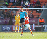 Blackpool's Clark Robertson in action with Fleetwood Town's Paddy Madden<br /> <br /> Photographer Mick Walker/CameraSport<br /> <br /> The EFL Sky Bet League One - Blackpool v Fleetwood Town - Saturday 14th April 2018 - Bloomfield Road - Blackpool<br /> <br /> World Copyright &copy; 2018 CameraSport. All rights reserved. 43 Linden Ave. Countesthorpe. Leicester. England. LE8 5PG - Tel: +44 (0) 116 277 4147 - admin@camerasport.com - www.camerasport.com