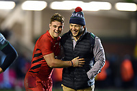 Ben Earl of Saracens and Ellis Genge of Leicester Tigers after the match. Gallagher Premiership match, between Leicester Tigers and Saracens on November 25, 2018 at Welford Road in Leicester, England. Photo by: Patrick Khachfe / JMP