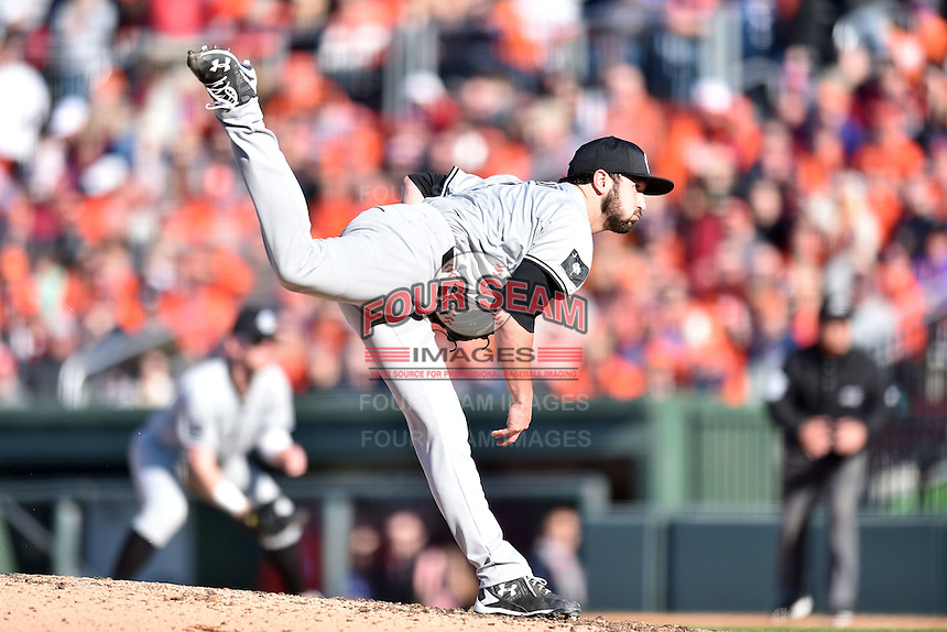South Carolina Gamecocks pitcher Brandon Murray (9) delivers a pitch during a game against the Clemson Tigers at Fluor Field on March 5, 2016 in Greenville, South Carolina. The Tigers defeated the Gamecocks 5-0. (Tony Farlow/Four Seam Images)