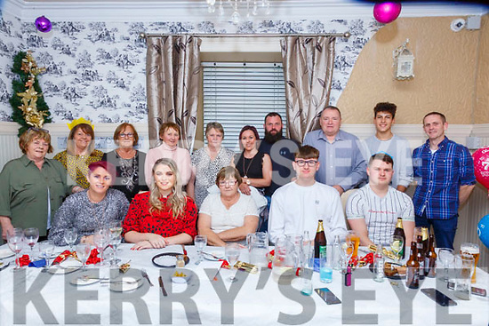 70th Birthday : Noreen Lynch, Moyvane, centre front, celebrating her 70th birthday with family & friends at Eabha Joan's Restaurant, Listowel on Saturday night last.