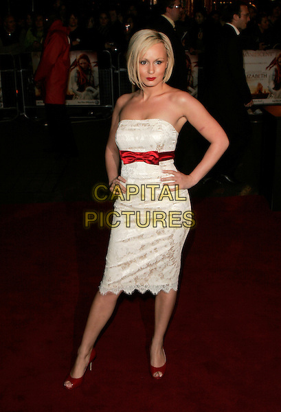 "CHANELLE HAYES.UK Premiere of ""Elizabeth - The Golden Age"" at the Odeon Leicester Square, London, England, October 23rd 2007..full length white dress lace strapless hands on hips bow red shoes .CAP/AH.©Adam Houghton/Capital Pictures."