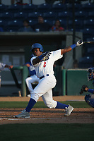 Johan Mieses (8) of the Rancho Cucamonga Quakes bats against the Stockton Ports at Loan Mart Field on July 16, 2017 in Rancho Cucamonga, California. Rancho Cucamonga defeated Stockton 9-1. (Larry Goren/Four Seam Images)
