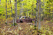 Abandoned Chevrolet car at the site of the old North Woodstock Civilian Conservation Corps Camp in North Woodstock, New Hampshire.