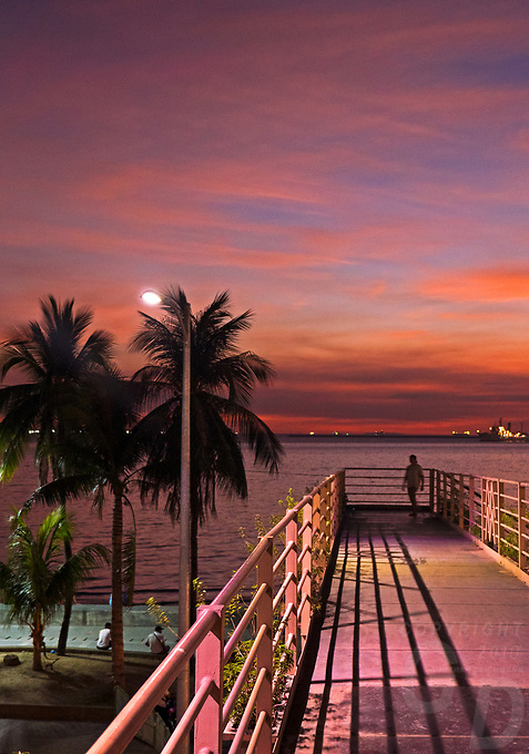 General life and environs in the Malate, Manila area and Manila Bay, Philippines. Sunset,