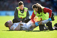 Fraser Balmain of Gloucester Rugby is treated for an injury. Gallagher Premiership match, between Harlequins and Gloucester Rugby on March 10, 2019 at the Twickenham Stoop in London, England. Photo by: Patrick Khachfe / JMP