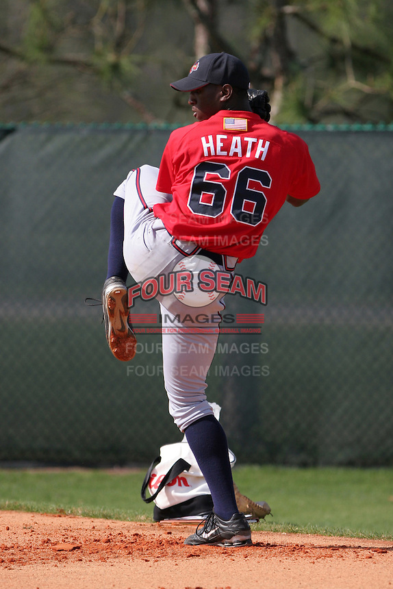 Atlanta Braves minor leaguer Deunte Heath during Spring Training at Disney's Wide World of Sports on March 15, 2007 in Orlando, Florida.  (Mike Janes/Four Seam Images)