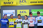 Jersey holders on the podium at the end of Stage 4 of the 2019 Tour de France running 213.5km from Reims to Nancy, France. 9th July 2019.<br /> Picture: ASO/Pauline Ballet | Cyclefile<br /> All photos usage must carry mandatory copyright credit (© Cyclefile | ASO/Pauline Ballet)