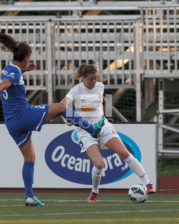 Western New York Flash forward Adriana Martin (8) dribbles. In a National Women's Soccer League Elite (NWSL) match, the Boston Breakers (blue) tied Western New York Flash (white), 2-2, at Dilboy Stadium on June 5, 2013.