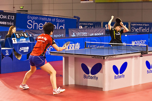 29.01.2011 English Open ITTF Pro Tour Table Tennis from the EIS in Sheffield. Ma Eum Song of Korea against Kasumi Ishikawa of Japan