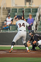 Conor Bierfeldt (34) of the Delmarva Shorebirds at bat against the Kannapolis Intimidators at CMC-Northeast Stadium on June 4, 2015 in Kannapolis, North Carolina.  The Shorebirds defeated the Intimidators 8-2.  (Brian Westerholt/Four Seam Images)