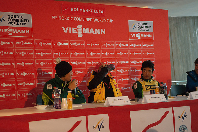 HOLMENKOLLEN, OSLO, NORWAY - March 15: Press conference after the FIS Nordic Combined World Cup on March 15, 2013 in Oslo, Norway. (L-R) Akito Watabe of Japan (JPN), Eric Frenzel of Germany (GER) and Yoshito Watabe of Japan (JPN). (Photo by Dirk Markgraf)
