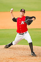 Kannapolis Intimidators relief pitcher Jason Van Skike #25 in action against the Rome Braves at CMC-Northeast Stadium on August 5, 2012 in Kannapolis, North Carolina.  The Intimidators defeated the Braves 9-1.  (Brian Westerholt/Four Seam Images)