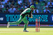 10th February 2019, Melbourne Cricket Ground, Melbourne, Australia; Australian Big Bash Cricket, Melbourne Stars versus Sydney Sixers;  Peter Handscomb of the Melbourne Stars runs out Nathan Lyon of the Sydney Sixers