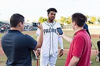 Peoria Javelinas right fielder Buddy Reed (85), of the San Diego Padres organization, talks to the media after winning the Arizona Fall League Championship game against the Salt River Rafters at Scottsdale Stadium on November 17, 2018 in Scottsdale, Arizona. Peoria defeated Salt River 3-2 in 10 innings. (Zachary Lucy/Four Seam Images)