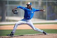 Toronto Blue Jays pitcher Wilfri Aleton (84) during a Minor League Spring Training Intrasquad game on March 14, 2018 at Englebert Complex in Dunedin, Florida.  (Mike Janes/Four Seam Images)