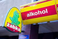 Sign for Zabka the little frog liqueur store sklep. Lutomierska Street Balucki District Lodz Central Poland