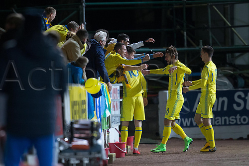 14th November 2017, McDiarmid Park, Perth, Scotland; UEFA Under 21 European Championships qualification, Scotland U-21 versus Ukraine U-21; Ukraine's Viktor Kovalenko celebrates with the Ukraine fans after scoring his side's second goal in their 2-0 win