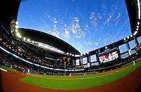 Apr. 11, 2011; Phoenix, AZ, USA; St. Louis Cardinals pitcher Kyle McClellan pitches to Arizona Diamondbacks batter Stephen Drew in the first inning at Chase Field. Mandatory Credit: Mark J. Rebilas-