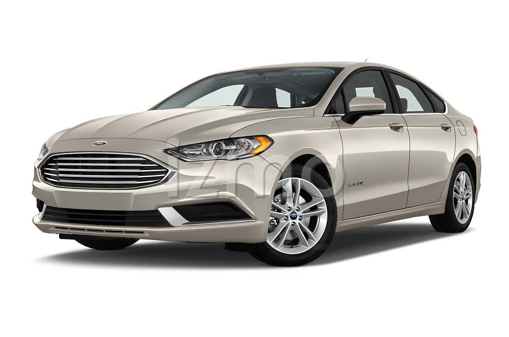 Stock pictures of low aggressive front three quarter view of a 2018 Ford Fusion Hybrid SE 4 Door Sedan