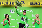 Mike Theunison (BEL) Team Jumbo-Visma wins Stage 1 and wears the first leaders Yellow Jersey and also the points Green Jersey of the 2019 Tour de France running 194.5km from Brussels to Brussels, Belgium. 6th July 2019.<br /> Picture: ASO/Alex Broadway | Cyclefile<br /> All photos usage must carry mandatory copyright credit (© Cyclefile | ASO/Alex Broadway)