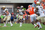 Kendall Hinton (2) of the Wake Forest Demon Deacons looks o pass the ball to Scotty Washington (7) during first half action against the Clemson Tigers at Memorial Stadium on October 7, 2017 in Clemson, South Carolina. The Tigers defeated the Demon Deacons 28-14.  (Brian Westerholt/Sports On Film)
