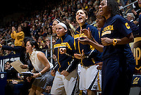 California players celebrate from the bench during the game against Stanford at Haas Pavilion in Berkeley, California on January 8th, 2013.  Stanford defeated California, 62-53.