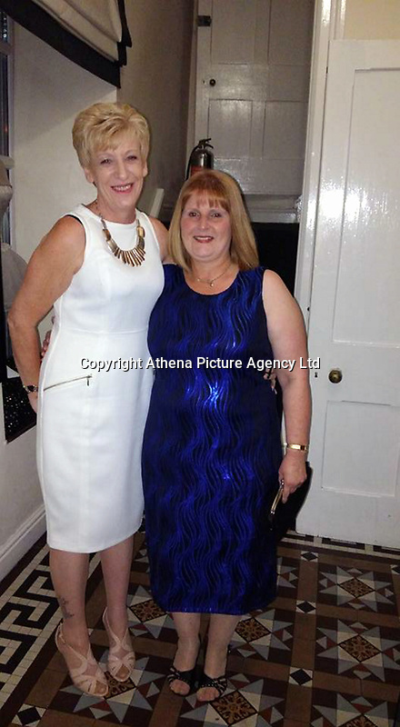 Pictured: Caroline Hannigan (L) with unknown woman, image found on her open social media account.<br /> Re: Teaching assistant Caroline Hannigan stole money that was raised at Glanhowy Primary School for charity,  to pay off her son's drug debt, a disciplinary hearing has been told.<br /> Hannigan collected £287 for the British Heart Foundation in Tredegar, south Wales in February 2015.<br /> She used the cash to pay off a drug dealer after her son was threatened.<br /> A fitness to practise committee in Cardiff is considering her case.<br /> Ms Hannigan has worked at the school in various roles for 23 years.<br /> She was given a 12-month conditional discharge after admitting theft by an employee at Caerphilly Magistrates' Court in February 2016.
