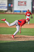 Orem Owlz starting pitcher Sadrac Franco (47) delivers a pitch to the plate against the Ogden Raptors at Lindquist Field on June 20, 2019 in Ogden, Utah. The Owlz defeated the Raptors 11-8. (Stephen Smith/Four Seam Images)