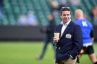 Bath Rugby Head Coach Mike Ford looks on during the pre-match warm-up. Aviva Premiership match, between Bath Rugby and Exeter Chiefs on October 17, 2015 at the Recreation Ground in Bath, England. Photo by: Patrick Khachfe / Onside Images