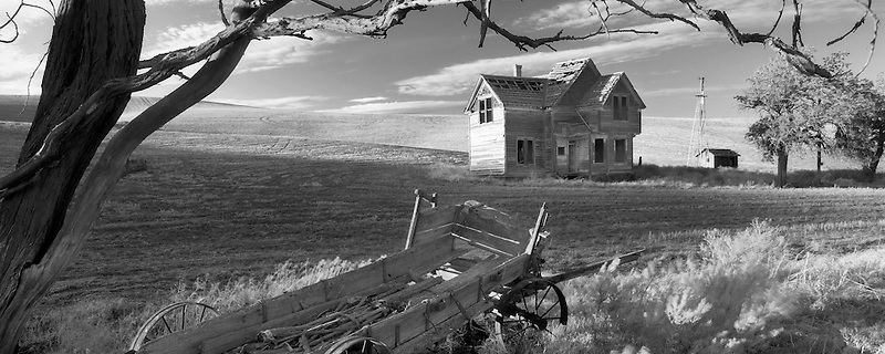 Abandoned farm house and wagon. Near The Dalles, Oregon