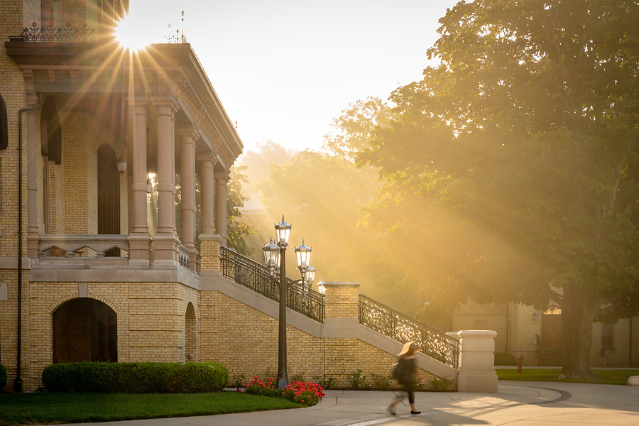 July 30, 2019; Misty sunrise behind the Main Building steps (Photo by Matt Cashore/University of Notre Dame)