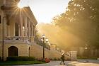 July 30, 2019; Misty sunrise behind the Main Building steps (Photo by Matt Cashore/University of Notre Dame)