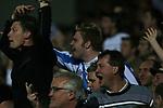 Blackburn Rovers 3, Huddersfield Town 1, 22/09/2005. Ewood Park, Carling Cup. Joyful Town fans celebrate their team's goal. Photo by Colin McPherson.
