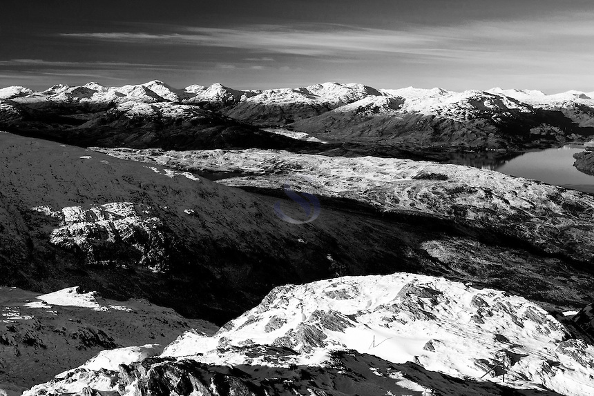 The Arrochar Alps, Loch Katrine and Loch Arklet from Ben Venue, Southern Highlands, Loch Lomond and the Trossachs National Park, Stirlingshire