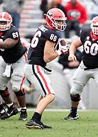 Athens, Georgia - April 20, 2019: Sanford Stadium, Spring Football Practice for the University of Georgia.  Final score UGA Red Team 22, UGA black Team 17.