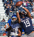 Nevada receiver Wyatt Demps (19) makes the catch over San Jose State' Andre Chachere in the first half of an NCAA college football game in Reno, Nev. Saturday, Nov. 11, 2017. (AP Photo/Tom R. Smedes)