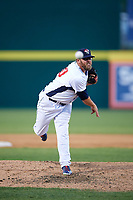Binghamton Rumble Ponies relief pitcher Cory Burns (30) delivers a pitch during a game against the Altoona Curve on May 17, 2017 at NYSEG Stadium in Binghamton, New York.  Altoona defeated Binghamton 8-6.  (Mike Janes/Four Seam Images)