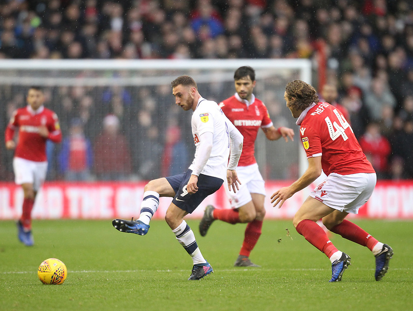 Preston North End's Louis Moult in action with Nottingham Forest's Michael Hefele<br /> <br /> Photographer Mick Walker/CameraSport<br /> <br /> The EFL Sky Bet Championship - Nottingham Forest v Preston North End - Saturday 8th December 2018 - The City Ground - Nottingham<br /> <br /> World Copyright © 2018 CameraSport. All rights reserved. 43 Linden Ave. Countesthorpe. Leicester. England. LE8 5PG - Tel: +44 (0) 116 277 4147 - admin@camerasport.com - www.camerasport.com