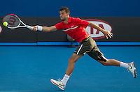 GRIGOR DIMITROV (BUL)  against NICOLAS ALMAGRO (ESP)  in the second round of the Men's Singles. Nicolas Almagro beat Grigor Dimitrov 4-6 6-3 6-7 6-4 6-0..18/01/2012, 18th January 2012, 18.01.2012..The Australian Open, Melbourne Park, Melbourne,Victoria, Australia.@AMN IMAGES, Frey, Advantage Media Network, 30, Cleveland Street, London, W1T 4JD .Tel - +44 208 947 0100..email - mfrey@advantagemedianet.com..www.amnimages.photoshelter.com.
