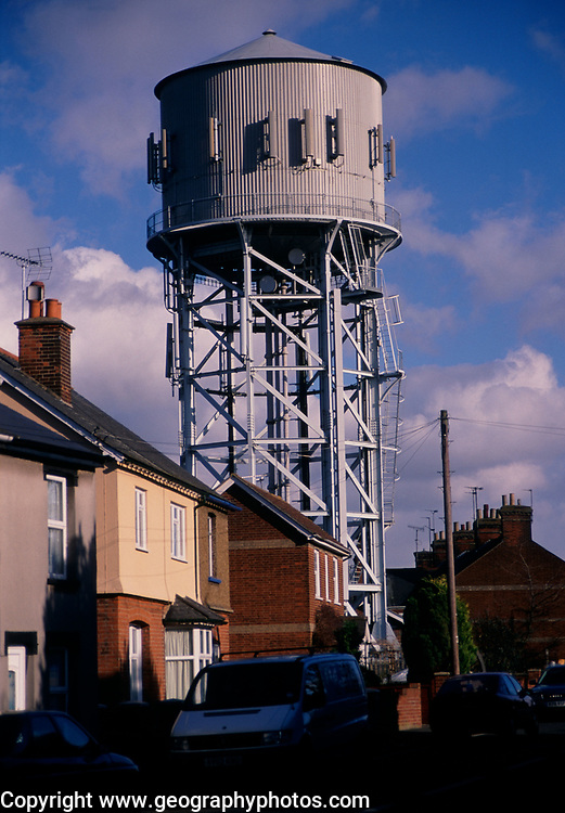 A752Y9 Water tower and houses Clacton Essex England