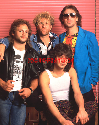 Van Halen 1985 Michael Anthony, Sammy Hagar, Eddie Van Halen and Alex Van Halen..© Chris Walter..