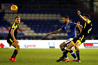 Oldham Athletic's Craig Davies (left) and Rotherham United's Richard Wood (right) battles during the Sky Bet League 1 match between Oldham Athletic and Rotherham United at Boundary Park, Oldham, England on 13 January 2018. Photo by Juel Miah / PRiME Media Images.