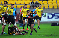 Chiefs' Te Toiroa Tahuriorangi passes from a ruck during the Super Rugby match between the Hurricanes and Chiefs at Westpac Stadium in Wellington, New Zealand on Friday, 27 April 2019. Photo: Dave Lintott / lintottphoto.co.nz