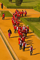 School children walking on a path at Humayun's Tomb, New Delhi, India