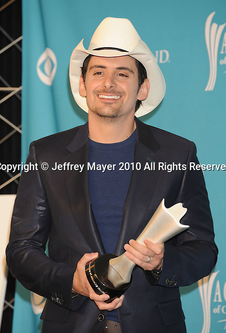 LAS VEGAS, NV. - April 18: Musician Brad Paisley, winner of Male Vocalist Of The Year poses in the press room during the 45th Annual Academy of Country Music Awards at the MGM Grand Garden Arena on April 18, 2010 in Las Vegas, Nevada.