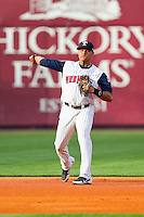 Toledo Mudhens shortstop Argenis Diaz (11) makes a throw to first base against the Charlotte Knights at 5/3 Field on May 3, 2013 in Toledo, Ohio.  The Knights defeated the Mudhens 10-2.  (Brian Westerholt/Four Seam Images)